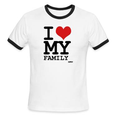 White/black i love my family by wam T-Shirts