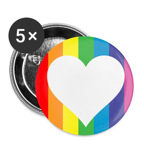 Rainbow Heart Pins 5pk - Large Buttons