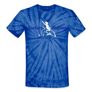 Blue Tie Dye   Blue & White Flock - Unisex Tie Dye T-Shirt