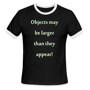 Glow in the dark text /objects may be larger than they appear - Men's Ringer T-Shirt