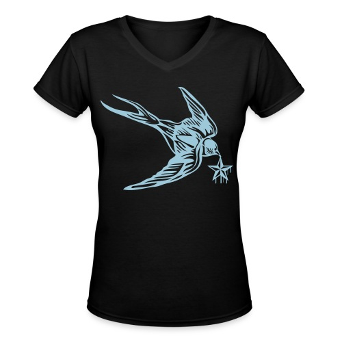 Womens V Neck StarBird Black - Women's V-Neck T-Shirt