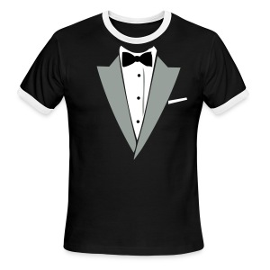 Halloween Formal Bow Tie and Suit T-shirt Costume - Men's Ringer T-Shirt