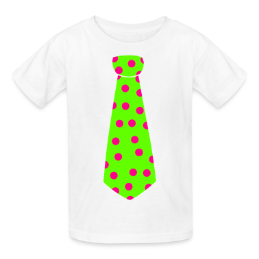 White Lime Green tie Kids' Shirts