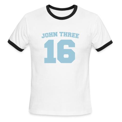 John 3:16 Men's Brown & Blue Tee - Men's Ringer T-Shirt