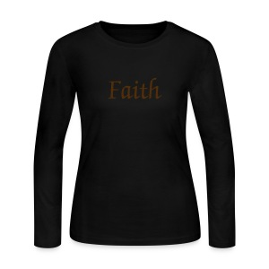 Ladies Blue & Brown Faith Shirt - Women's Long Sleeve Jersey T-Shirt