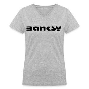 Womens Banksy Tee - Women's V-Neck T-Shirt