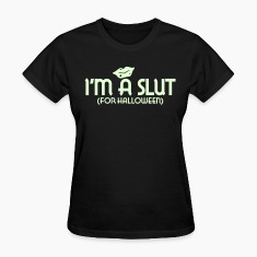 Black Halloween Slut Women's T-Shirts