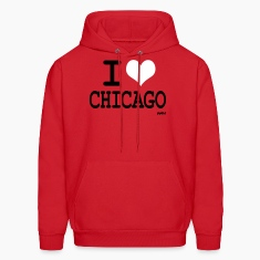 Red i love chicago by wam Hoodies