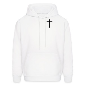 Jesus/The Cross - White/Black - Men's Hoodie