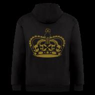 Zip Hoodies & Jackets ~ Men's Zip Hoodie ~ Mens Designer Gold Print Zipper Hoodie