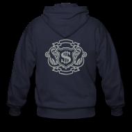 Zip Hoodies & Jackets ~ Men's Zip Hoodie ~ Mens Designer Silver Print Zipper Hoodie