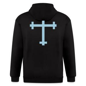 CcC Hoody light blue cross - Men's Zip Hoodie