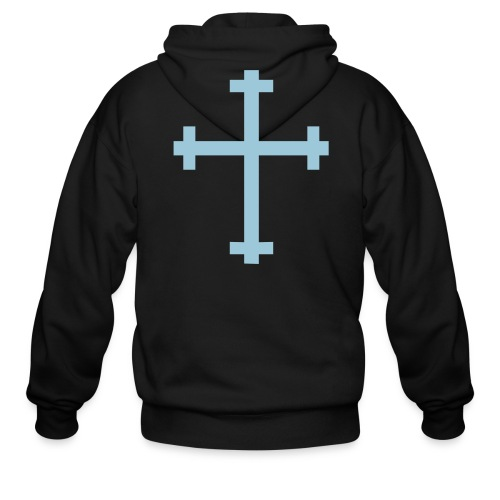 CcC Hoody light blue cross - Men's Zip Hoodie