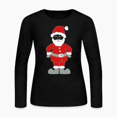 Black Santa Claus Long Sleeve Shirts