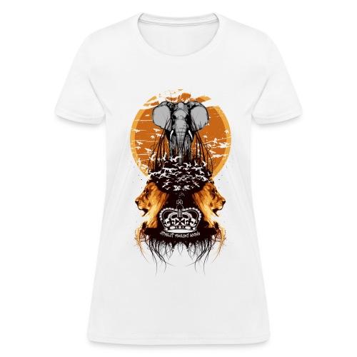 Elephant,Lions and Birds Flying Designer Tee - Women's T-Shirt