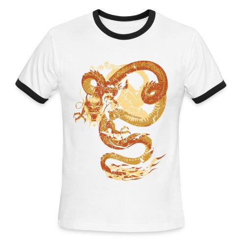 Vintage Faded Chinese Dragon Designer T-shirt - Men's Ringer T-Shirt