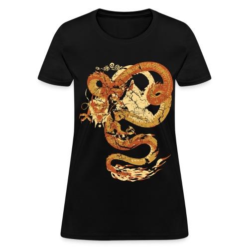 Vintage Faded Chinese Dragon Designer T-shirt - Women's T-Shirt