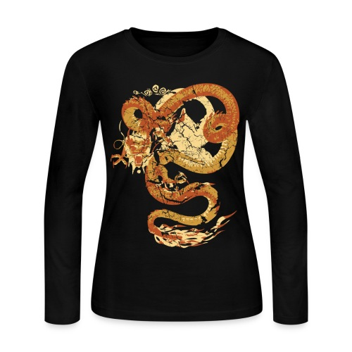 Vintage Faded Chinese Dragon Designer T-shirt - Women's Long Sleeve Jersey T-Shirt