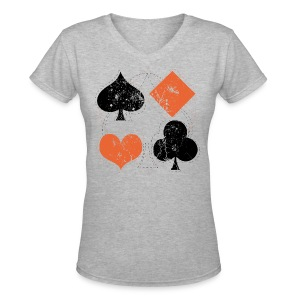 Hearts,Spades,Clubs,and Diamonds Vintage Playing Cards - Women's V-Neck T-Shirt
