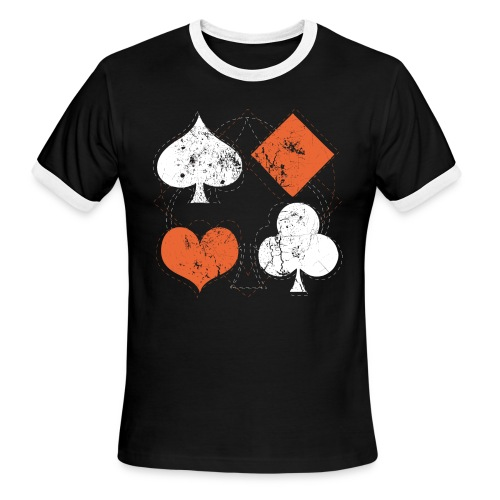 Hearts,Spades,Clubs,and Diamonds Vintage Playing Cards - Men's Ringer T-Shirt