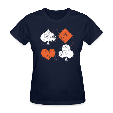 Navy vintage poker playing cards Women's T-Shirts