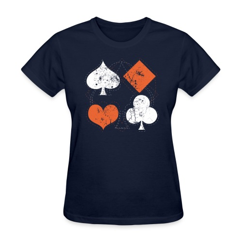 Hearts,Spades,Clubs,and Diamonds Vintage Playing Cards - Women's T-Shirt