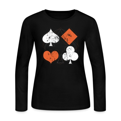 Hearts,Spades,Clubs,and Diamonds Vintage Playing Cards - Women's Long Sleeve Jersey T-Shirt