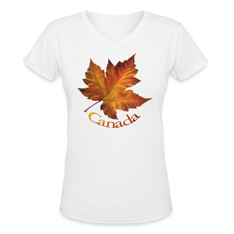 Womens Canada T-shirt Beautiful Maple Leaf Souvenir  - Women's V-Neck T-Shirt