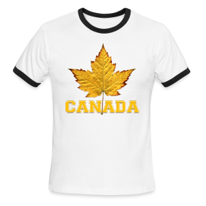 Canada T-shirt Men's Maple Leaf Souvenir T-shirts - Men's Ringer T-Shirt