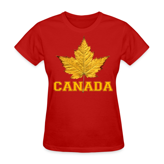 Women's Canada T-Shirt Maple Leaf Souvenir Shirt