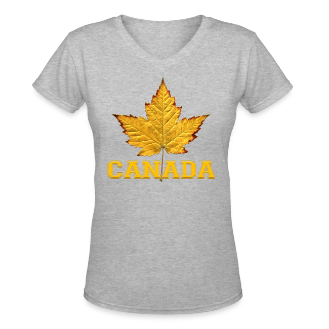 Women's Canada T-Shirt Canada Varsity Maple Leaf Souvenir Shirt