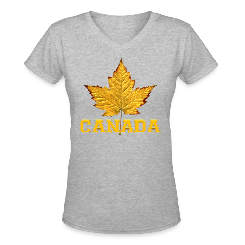Women's Canada T-Shirt Canada Varsity Maple Leaf Souvenir Shirt - Women's V-Neck T-Shirt