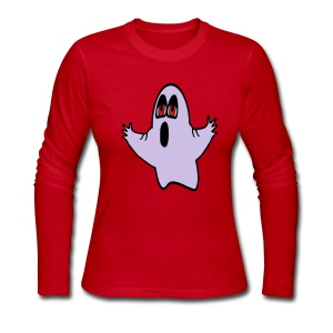WUBT 'Eli, The Expressive Ghost' Women's LS Jersey Tee, Royal ,Red - Women's Long Sleeve Jersey T-Shirt