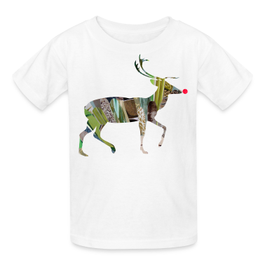 White collage art REINDEER Kids' Shirts