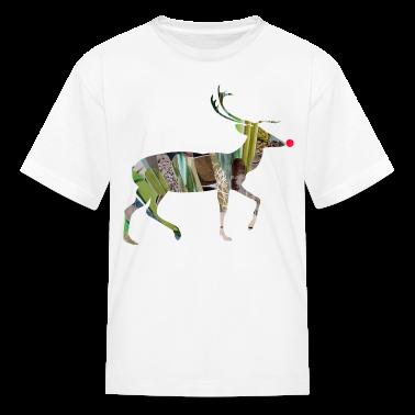 White collage art REINDEER Kids' Shirts