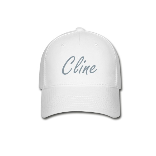 Cline Hat (metallic silver on white w/flames) - Baseball Cap