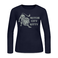 Long Sleeve Shirts ~ Women's Long Sleeve Jersey T-Shirt ~ Motor City Kitty Women's Long Sleeve Jersey Tee