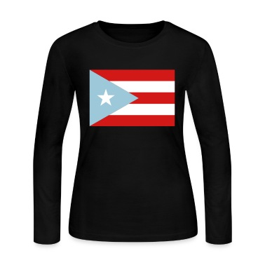 Black Peurto Rican Flag Long Sleeve Shirts