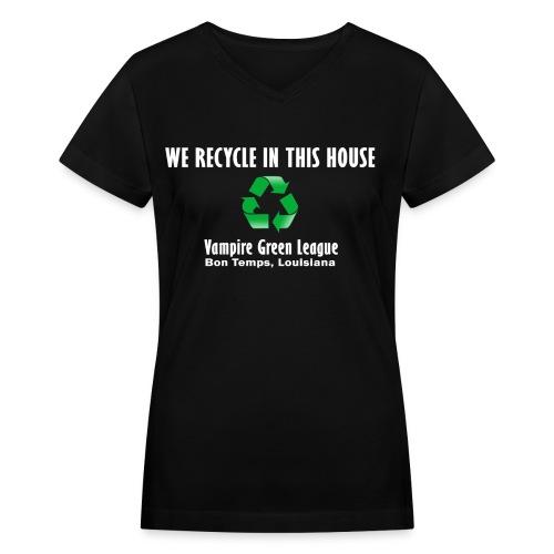 Recycle - Black - Womens - Women's V-Neck T-Shirt
