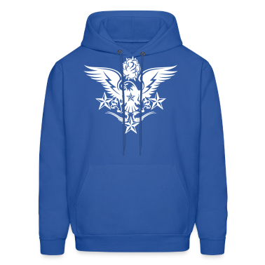 Royal blue Eagle,Rose,and Nautical Star Lightning Tattoo Hoodies
