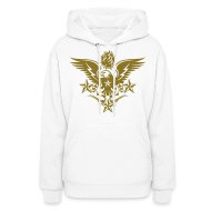 Hoodies ~ Women's Hoodie ~ Gold Print Womens Designer Tattoo Hoodies For Fall
