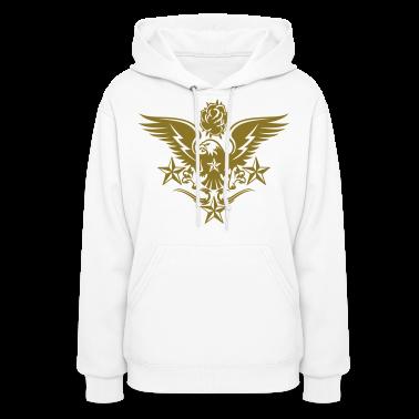 White Eagle,Rose,and Nautical Star Lightning Tattoo Hoodies