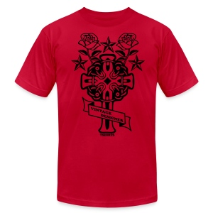 New Cross and Roses Vintage Designer Tee - Men's T-Shirt by American Apparel
