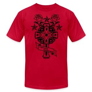 New Cross and Roses Vintage Designer Tee - Men's Fine Jersey T-Shirt