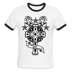 New Cross and Roses Vintage Designer Tee - Men's Ringer T-Shirt