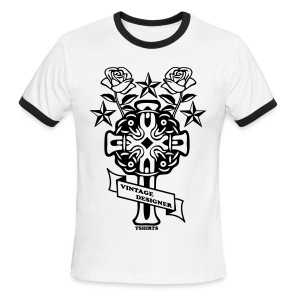 New Cross and Roses Vintage Designer Tee - Men's Ringer T-Shirt