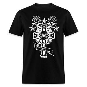 New Cross and Roses Vintage Designer Tee - Men's T-Shirt