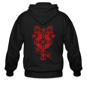 New Cross and Roses Vintage Designer Hoodie - Men's Zip Hoodie