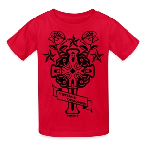New Cross and Roses Vintage Designer Tee - Kids' T-Shirt