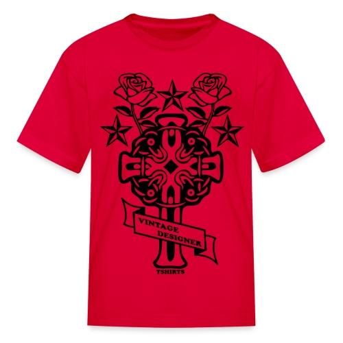 New Cross and Roses Vintage Designer Tee - Kids' T-Shirt